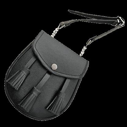 Black Tasseled Medieval Sporran Pouch