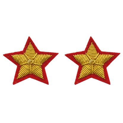 Red C.S.A. Collar Star Insignia Patches