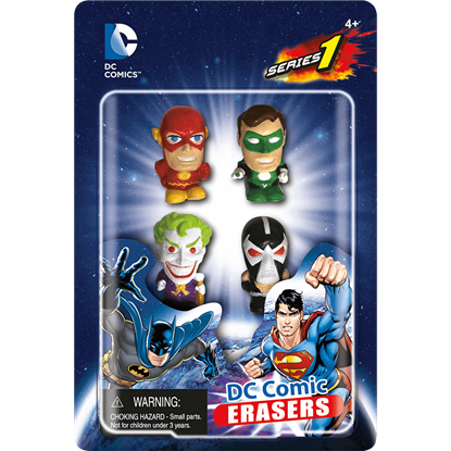 4 Piece DC Heroes and Villains Eraser Set