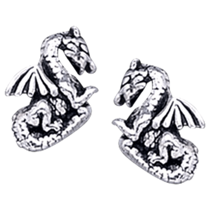 Silver Dragon Stud Earrings