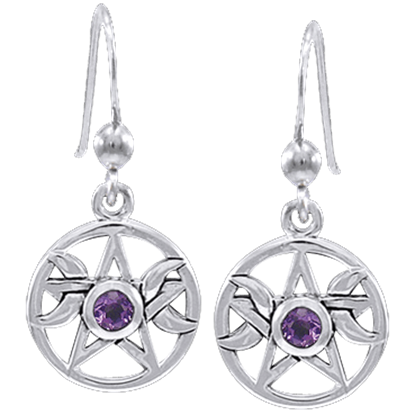 Pagan Moon Pentacle Earrings