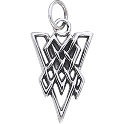 White Bronze Triangle Knot Charm