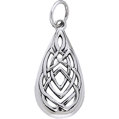 White Bronze Celtic Teardrop Charm