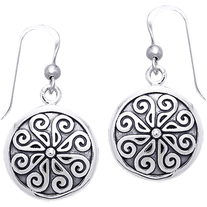 White Bronze Viking Round Shield Earrings