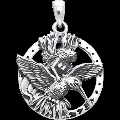 White Bronze Hummingbird Fairy Pendant
