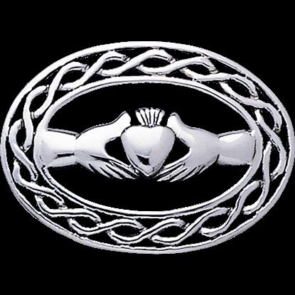 White Bronze Claddagh Knotwork Brooch