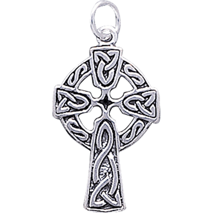 White Bronze Celtic Cross Charm