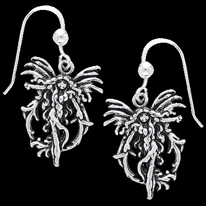 White Bronze Fire Fairy Earrings