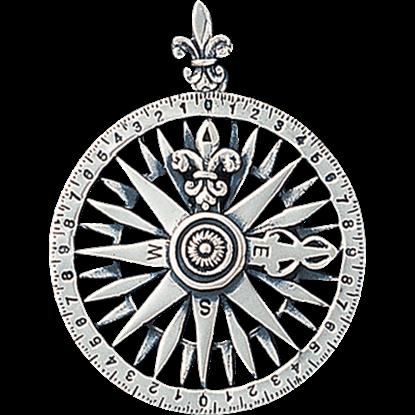 White Bronze Compass Rose Pendant