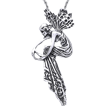 White Bronze Fancy Fairy Pendant