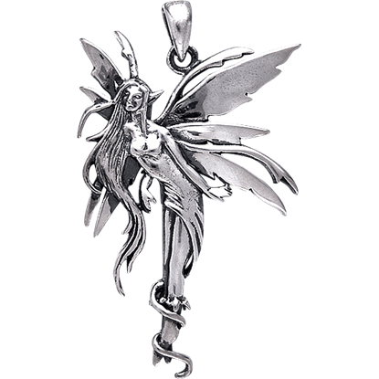 White Bronze Firefly Fairy Pendant