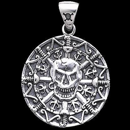 White Bronze Pirate Skull Coin Pendant