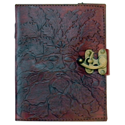Embossed 6x8 Greenman Leather Journal with Lock