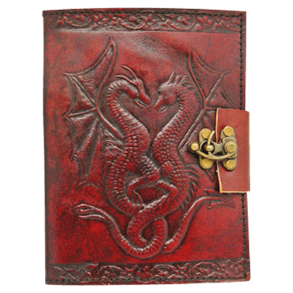 Leather Embossed Double Dragon Journal With Lock