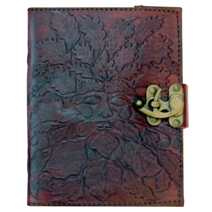 Embossed 5x7 Greenman Leather Journal with Lock