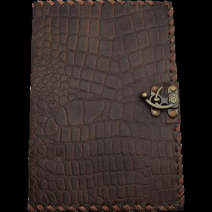 Large Brown Dragon Skin Leather Journal