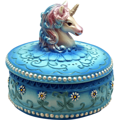 Blue Unicorn Trinket Box