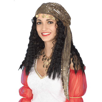 Black Gypsy Wig with Sequin Scarf