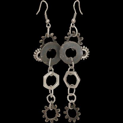 Silver Steampunk Gear Earrings