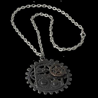 Dark Metal Steampunk Gear Necklace