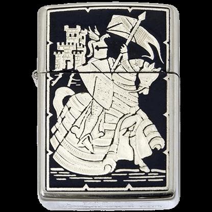 Damascene Mounted Knight Zippo Lighter by Marto