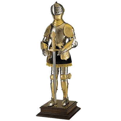 Miniature Gold 16th Century Spanish Armor with Sword by Marto