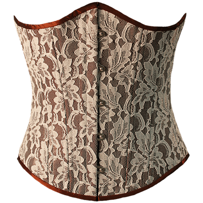 Brown Silk with Lace Underbust Corset