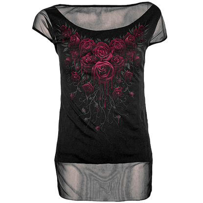 Blood Rose 2-in-1 Womens Mesh T-Shirt