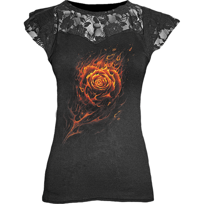 Burning Rose Layered Lace Womens Shirt