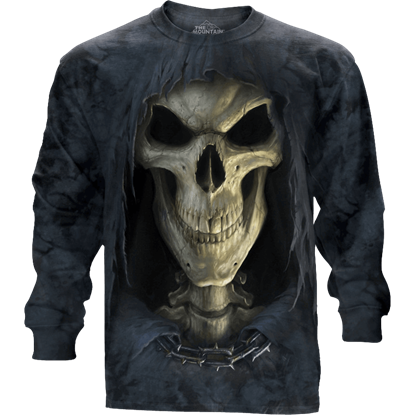 Big Face Grim Reaper Long Sleeve T-Shirt