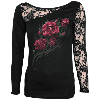 Death Rose Lace Sleeve Shirt