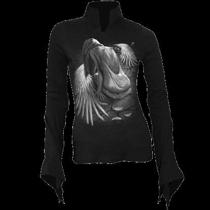 Broken Angel High Neck Long Sleeve Womens Shirt