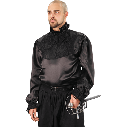 Black Satin and Lace Jabot Shirt