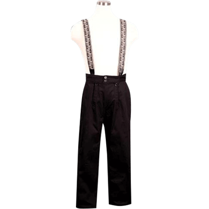 Black Embroidered Suspender Pants