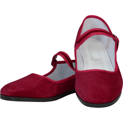 Burgundy Velvet Lady Jane Shoes