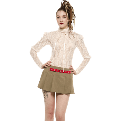 Cream Sheer High Neck Ribbon Blouse