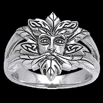 Green Man Silver Ring