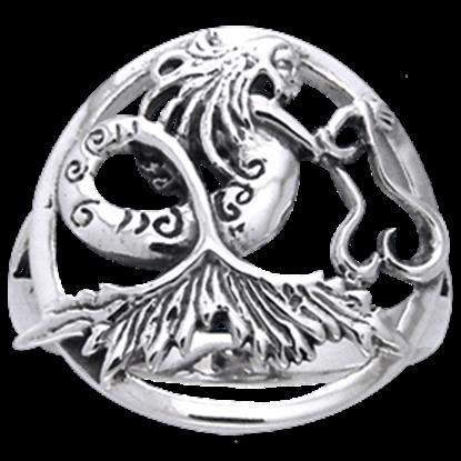 White Bronze Dark Waters Mermaid Ring