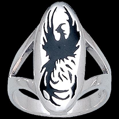 White Bronze Phoenix Rising Ring