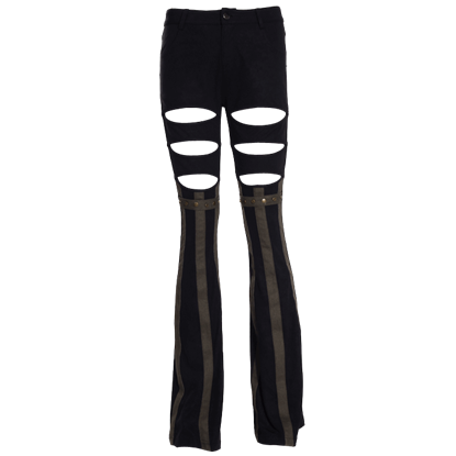 Steampunk Exposed Thigh Striped Pants