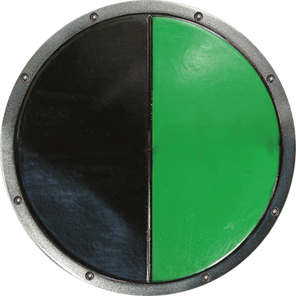 Green and Black Ready For Battle Round LARP Shield