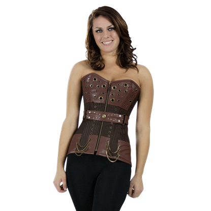 Belted Brown Steampunk Overbust Corset