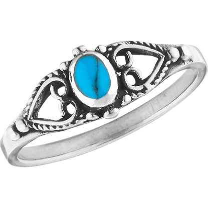 Classic Turquoise Scrollwork Ring