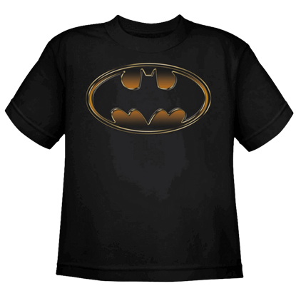 Black and Gold Kids Classic Batman Logo T-Shirt