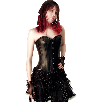 Black Leather Overbust Corset