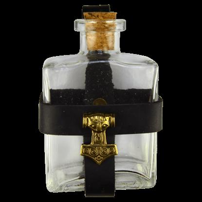 Glass Potion Bottle with Mjolnir Holder