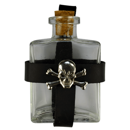 Glass Pirate Bottle with Jolly Roger Holder