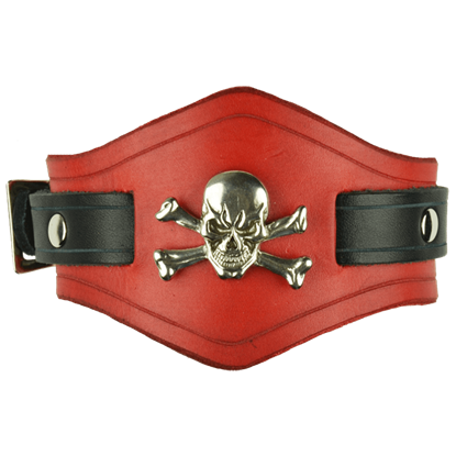 Jolly Roger Leather Wrist Cuffs