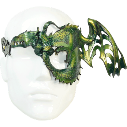 Winged Half-Dragon Leather Mask