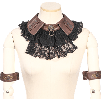 Lace Steampunk Geared Jabot with Armbands